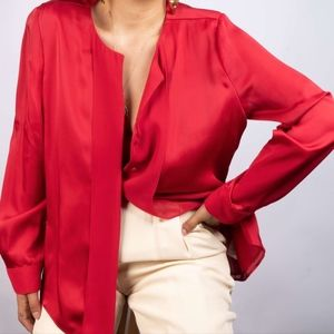 Sultry Chiffon Crimson Red Blouse